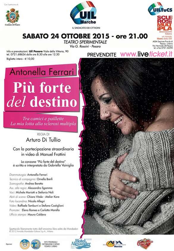 """Antonella Ferrari """"Più forte del destino"""" al Teatro Sperimentale di Pesaro"""