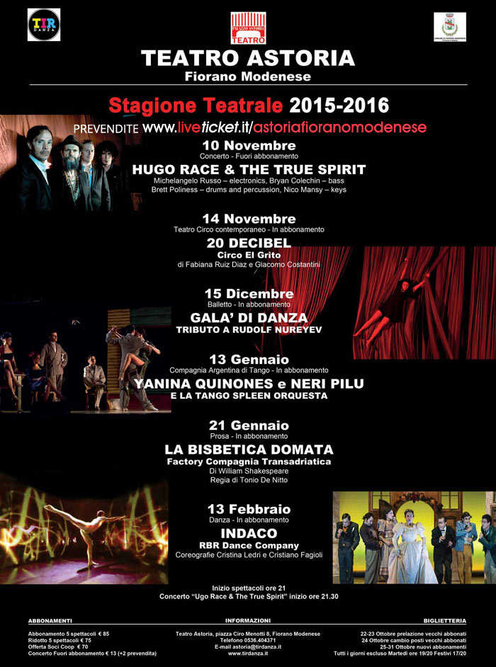 Stagione Teatrale 2015/16 al Teatro Astoria di Fiorano Modenese
