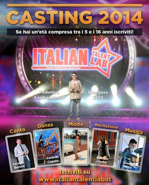 """Casting del Concorso Nazionale """"Italian Talent Lab"""" Regione Toscana"""
