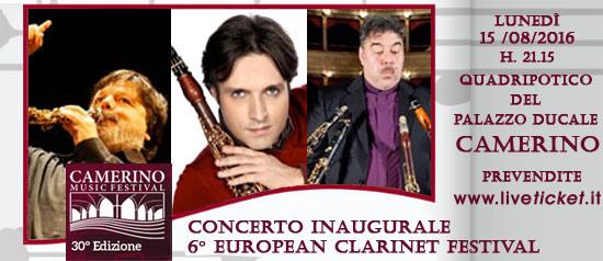 Concerto inaugurale 6° European Clarinet Festival al Camerino Music Festival