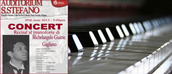 Recital al Pianoforte di Michelangelo Giaime Gagliano a Firenze