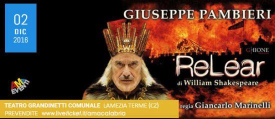 """Giuseppe Pambieri """"Re Lear"""" al Teatro Comunale Grandinetti di Lamezia Terme"""