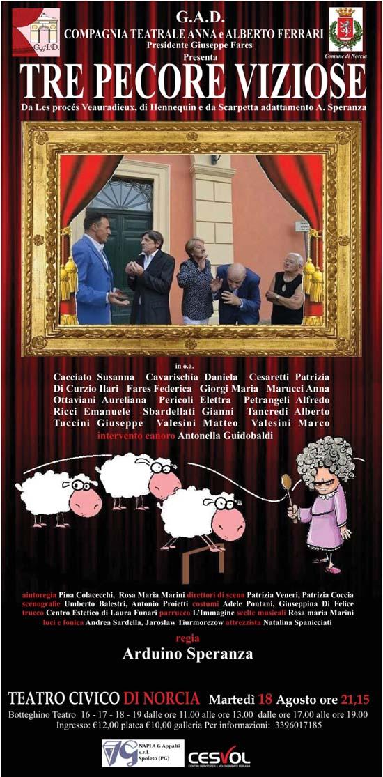 Tre Pecore Viziose al Teatro Civico di Norcia