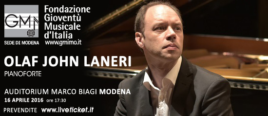 Olaf John Laneri pianoforte all' Auditorium Marco Biagi di Modena