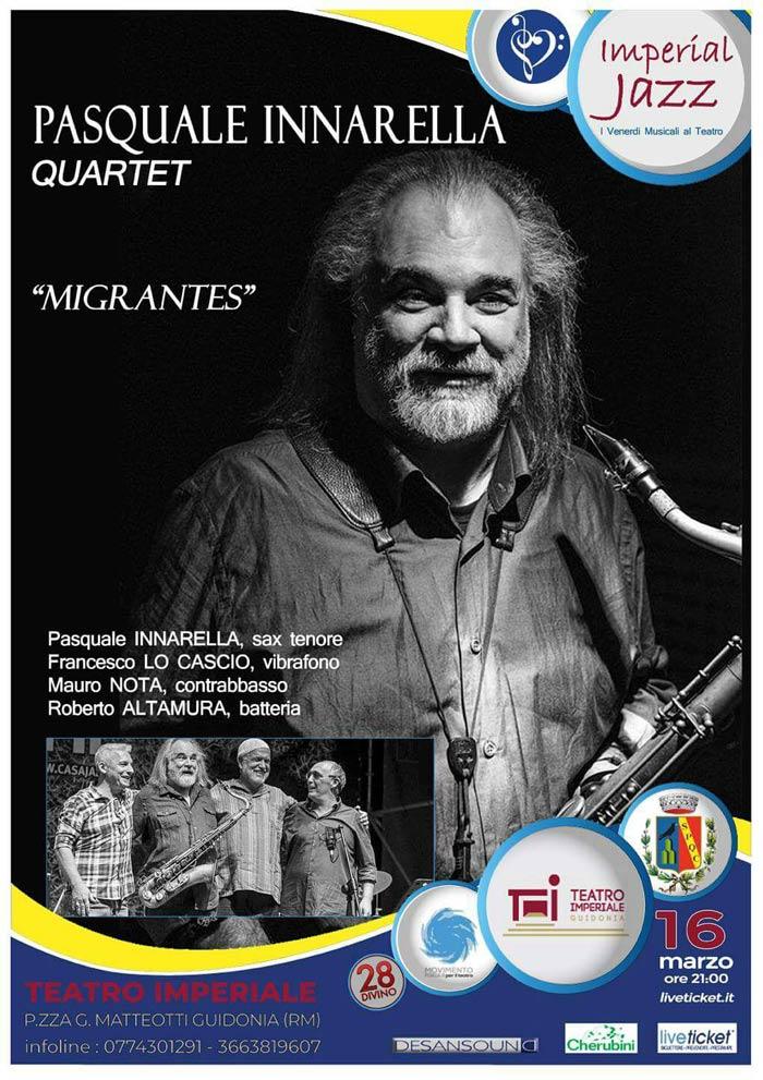 """Per Imperial Jazz """"Pasquale Innarella Quartet"""" al Teatro Imperiale di Guidonia"""