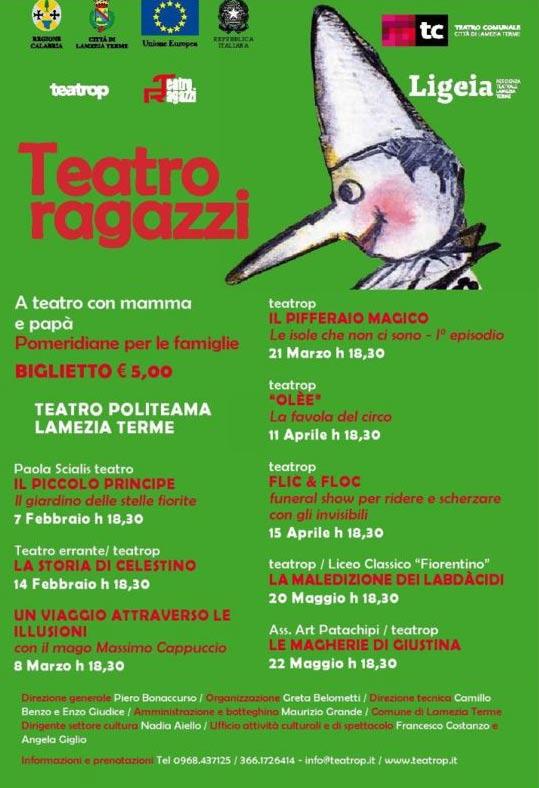 """A teatro con mamma e papà"""" al Teatro Politeama di Lamezia Terme"""