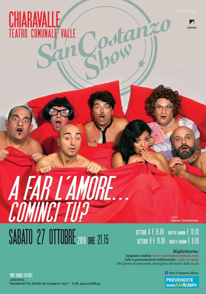 """San Costanzo Show """"A far l'amore...cominci tu?"""" al Teatro Comunale Valle di Chiaravalle"""