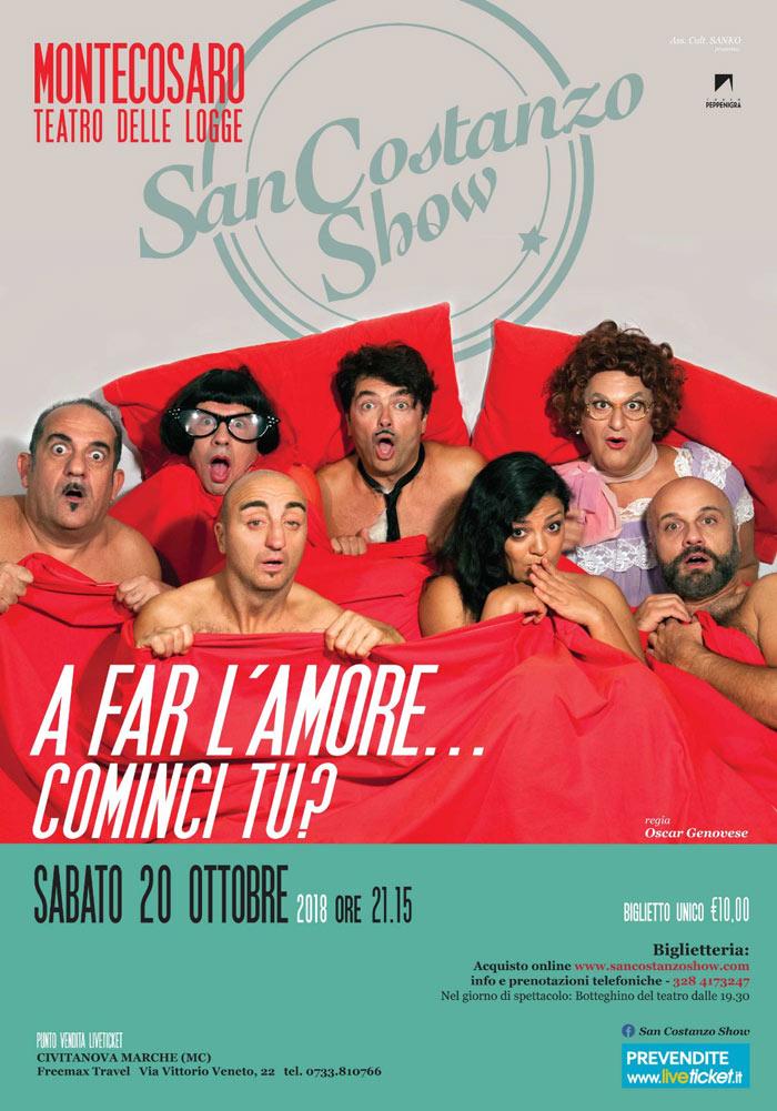 """San Costanzo Show """"A far l'amore...cominci tu?"""" al Teatro delle Logge a Montecosaro"""