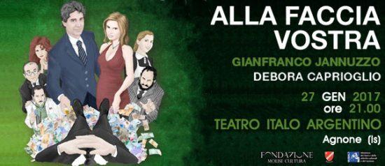 """Gianfranco Jannuzzo e Debora Caprioglio """"Alla faccia vostra"""" al Teatro Italo Argentino di Agnone"""