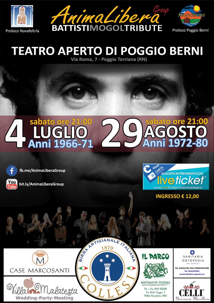 AnimaLibera BattistiMogolTribute al Teatro Aperto di Poggio Berni a Poggio Torriana