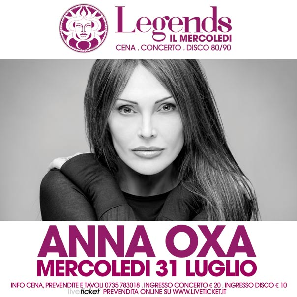 """Il Mercoledì Medusa Legends"" Anna Oxa a San Benedetto del Tronto"
