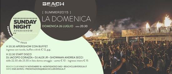 Sunday night aperishow al Beach Club Versilia