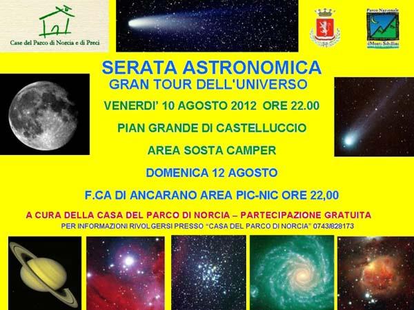 """Serata Astronomica """"Gran Tour dell'Universo"""" Norcia"""