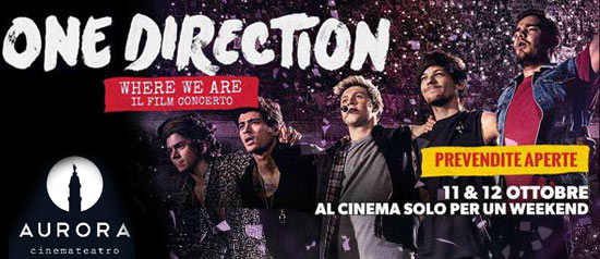 """One Direction """"Where we are"""" il film concerto al Cinema Teatro Aurora a Palazzolo sull'Oglio (BS)"""