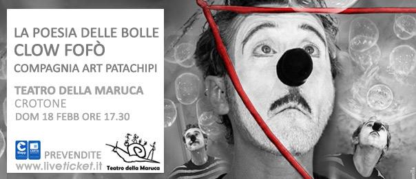 """""""La poesia delle bolle"""" al Teatro della Maruca a Crotone"""