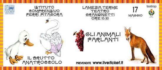 """Gran Galà delle scuole """"Il brutto anatroccolo"""" - """"Gli animali parlanti"""" al Teatro Grandinetti di Lamezia Terme"""
