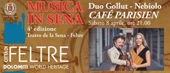 """Jeanne Gollut e Alessio Nebiolo """"Cafè Parisien"""" al Teatro de la Sena a Feltre"""