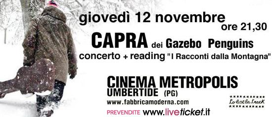 Capra live acustico + Racconti dalla Montagna al Cinema Metropolis di Umbertide