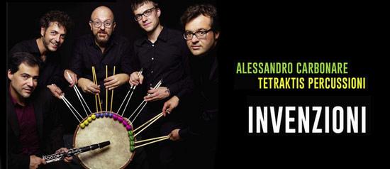 """Alessandro Carbonare e Tetraktis percussioni all' Auditorium """"Spira mirabilis"""" di Formigine"""