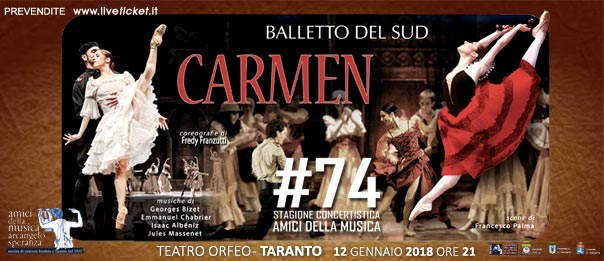 """Balletto del Sud """"Carmen""""al Teatro Orfeo di Taranto"""