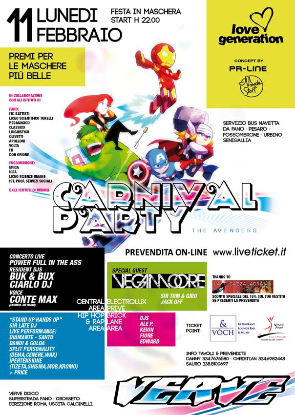 Carnival Party al Verve Calcinelli