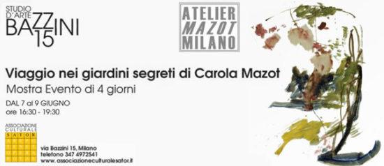 Viaggio nei giardini segreti di Carola Mazot allo Studio d'Arte Bazzini15 a Milano