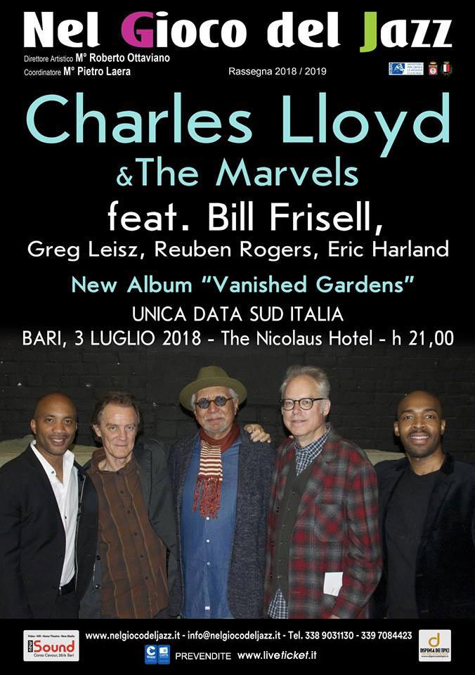 Charles Lloyd & The Marvels feat Bill Frisell al The Nicolaus Hotel a Bari