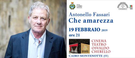 """Antonello Fassari """"Che Amarezza"""" al Teatro Osvaldo Chebello di Cairo Montenotte"""
