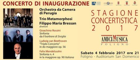 """""""Concerto d'inaugurazione"""" Bressan e Trio Metamorphosi all'Auditorium San Domenico di Foligno"""