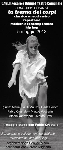 """Concorso di danza """"La trama dei corpi"""" al Teatro Comunale di Cagli"""