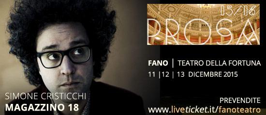 Simone Cristicchi in Magazzino 18 al Teatro della Fortuna di Fano