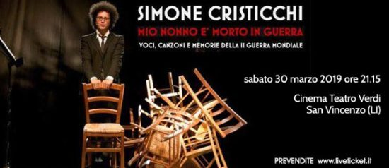 """Simone Cristicchi """"Mio nonno è morto in guerra"""" al Cinema Teatro Verdi di San Vincenzo"""