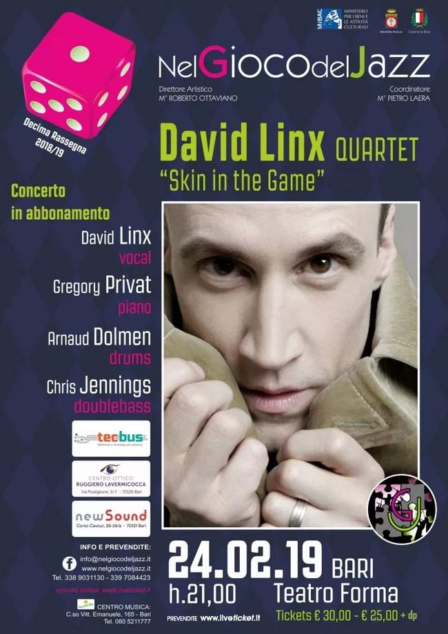 "David Linx quartet ""Skin the Game"" al Teatro Forma di Bari"