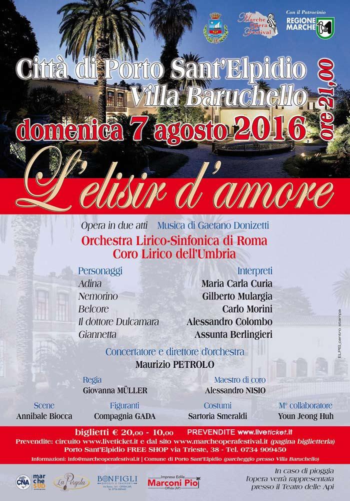 """Marche Opera Festival presenta """"L'elisir d'amore"""" a Porto Sant'Elpidio"""