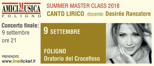 Summer Masterclass - Desirée Rancatore all'Oratorio del Crocefisso a Foligno