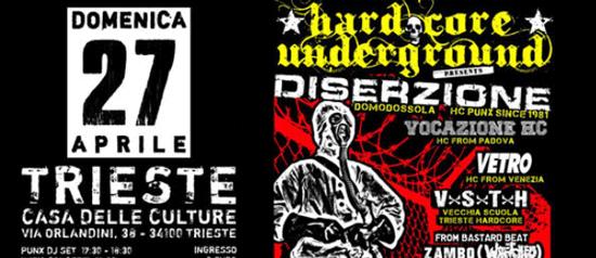 Diserzione / Vocazione HC / Vetro / VxSxTxH / From Bastad Beat. Zambo (Wretched) Live @CdC a Trieste