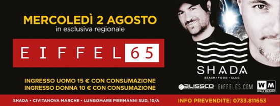Eiffel 65 allo Shada Beach Club a Civitanova Marche