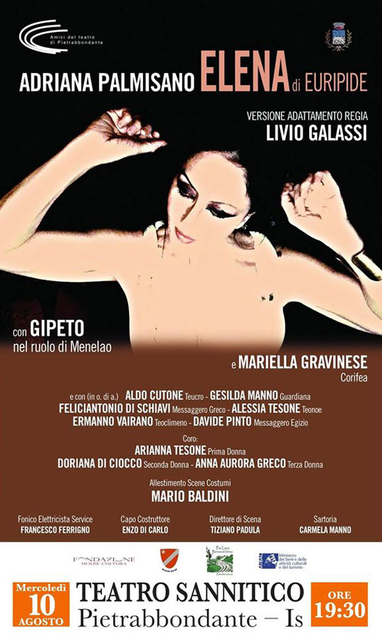 "Adriana Palmisano ""Elena"" a Terra d'Arte estate 2016 al Teatro Sannita di Pietrabbondante"