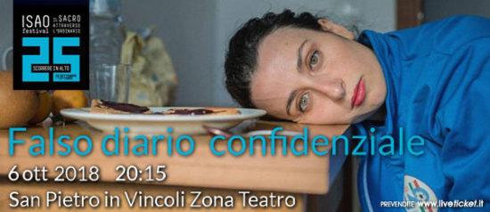 """Isao Festival """"Falso diario confidenziale"""" al Teatro in San Pietro in Vincoli a Torino"""