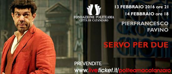 "Pierfrancesco Favino ""Servo per due"" al Teatro Politeama di Catanzaro"