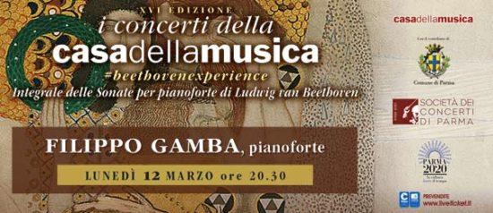 Filippo Gamba alla Casa della Musica a Parma