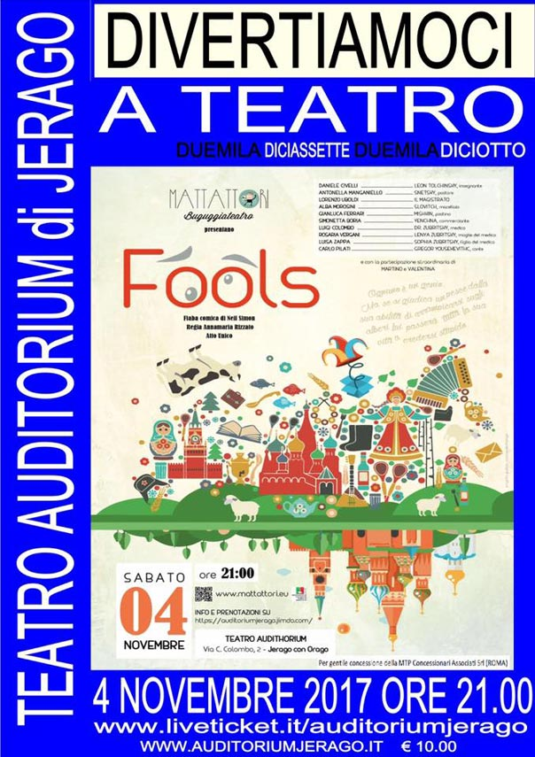 Fools all'Auditorium Jerago a Jerago con Orago