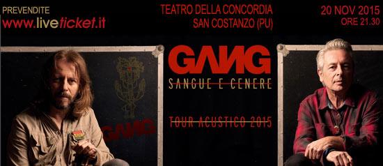 """Gang """"Sangue e cenere"""" Tour Acustico 2015 al Teatro della Concordia di San Costanzo"""