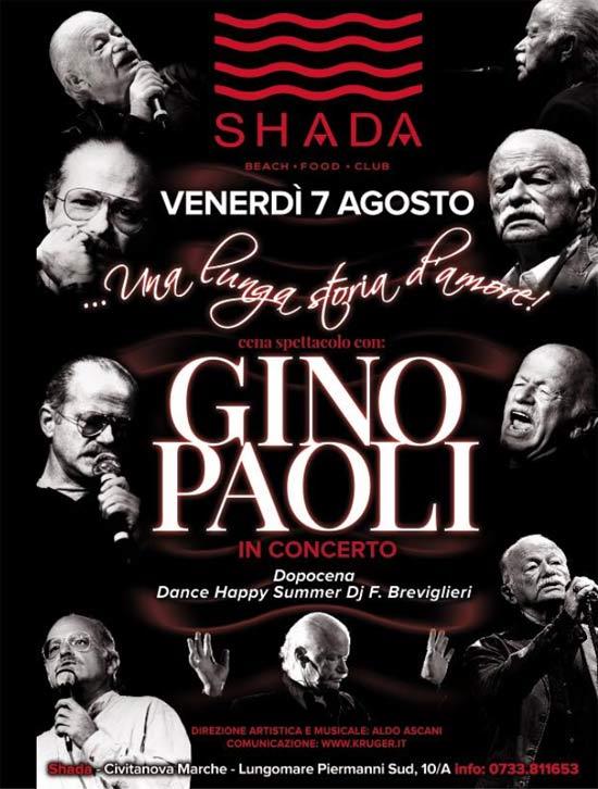 Gino Paoli allo Shada Beach Club a Civitanova Marche