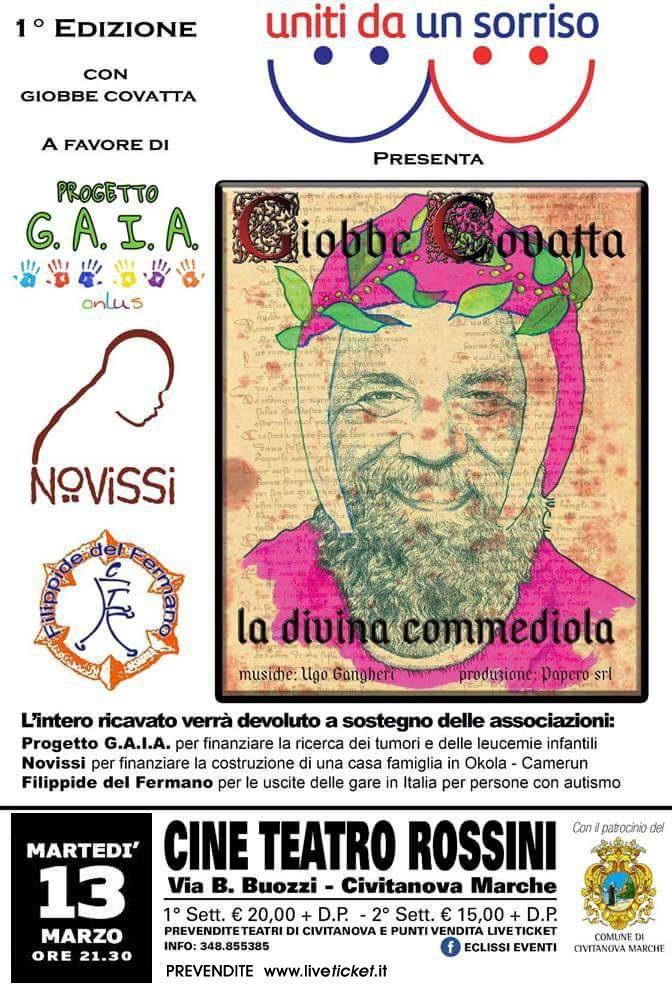 """Giobbe Covatta """"La Divina Commediola"""" al Teatro Rossini di Civitanova Marche"""