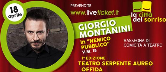 """Giorgio Montanini in """"Nemico pubblico""""al Teatro Serpente Aureo di Offida"""