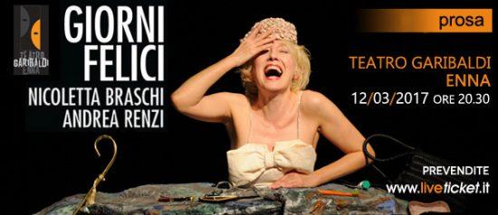 """Nicoletta Braschi e Andrea Renzi """"Giorni felici"""" al Teatro Garibaldi di Enna"""