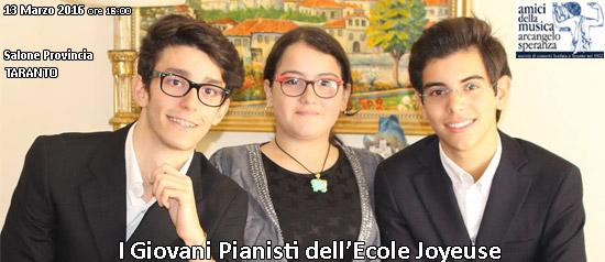 """""""I Giovani Pianisti dell'Ecole Joyeuse"""" al Salone della Provincia di Taranto"""