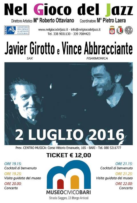 Duo Javier Girotto e Vince Abbracciante al Museo Civico di Bari