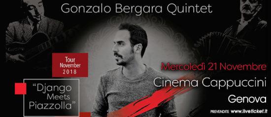 """Gonzalo Bergara quintet """"Django Meets Piazzolla"""" al Cinema Cappuccini a Genova"""
